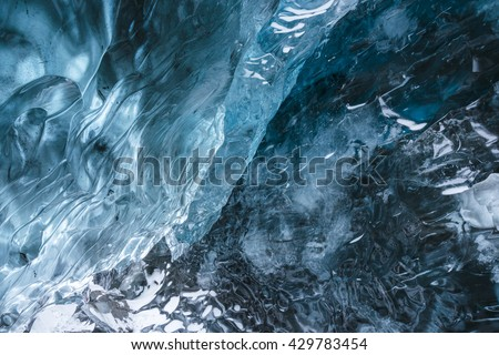 Textura bllue ice in the deep ice Cave. Hofn. Vatnajokull Glacier. Iceland  - stock photo