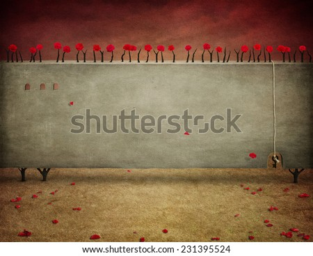 Textural background or illustration with roses - stock photo