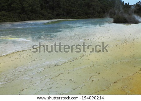 Texture and pattern of a volcanic hot spring in Rotorua, New Zealand - stock photo
