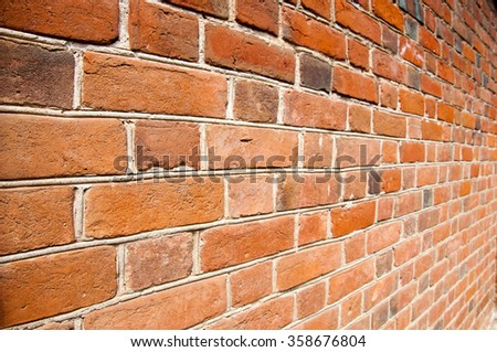 Texture, background. Brick wall. Fragment of Venetian old brick wall as background. Red brick wall texture background. Old brick wall texture background - stock photo