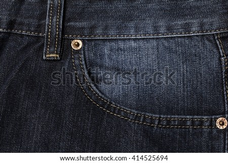 Texture background of blue jeans Pocket detail - stock photo