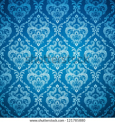 texture background of seamless damask blue wallpaper - stock photo