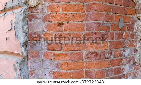 Texture background. Old brick wall. City walls. Abstract street pattern paint  - stock photo