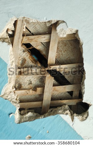 Texture, background. plaster. photographed close-up of a crack in the plaster walls of the old building. damaged plaster wall - stock photo