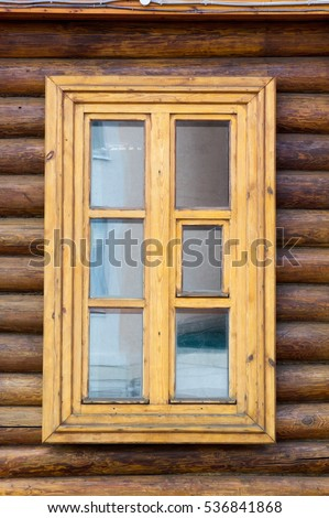 Wood cabin stock images royalty free images vectors for Log home windows