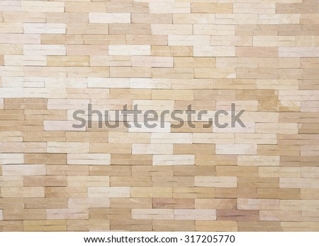 Texture brick wall background horizontal architecture wallpaper in light antique cream color tone - stock photo