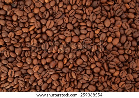 Texture coffee beans closeup. Coffee background  - stock photo