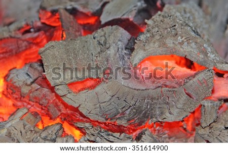 Texture fire  embers with the ashes - stock photo