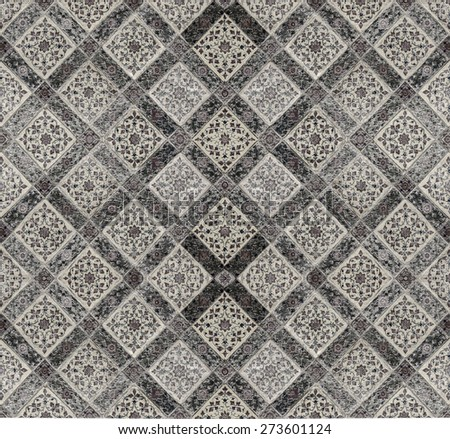 Texture from wall in Thai temple. Black and white color. - stock photo