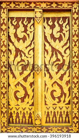 Texture from window in Thai temple. - stock photo