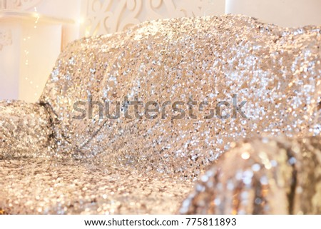 texture glitter sequins silver sofa. Beautiful rich interior. silver sofa