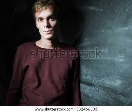 Texture guy with big cheekbones near the chalk walls