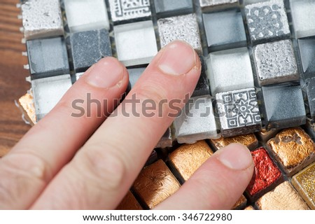 texture mosaic tiles texture mosaic bathroom to the kitchen floor and walls are used to repair the premises, structure design decor. - stock photo