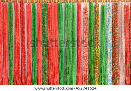 Texture necklaces of beads, background. - stock photo