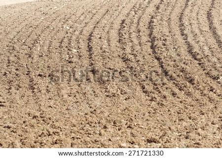 Texture of a plowed field, Zaragoza Province, Aragon, Spain. - stock photo