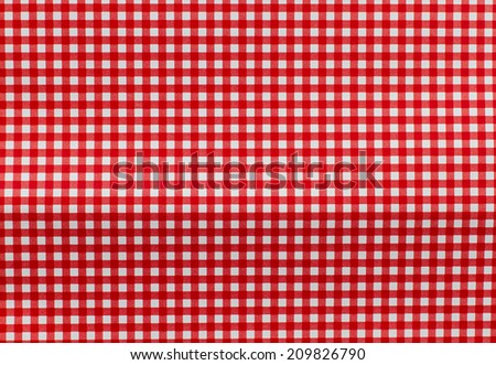 Texture of a red and white checkered picnic blanket - stock photo