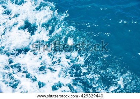 Texture of beautiful wave in the ocean, scenic nature. Free space on right frame. - stock photo