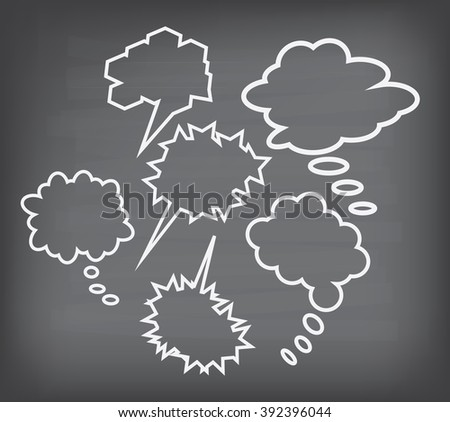 Texture of black chalk board with callout doodle set - stock photo