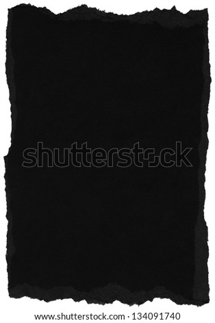 Texture of black fiber paper with torn edges. Isolated on white background. - stock photo