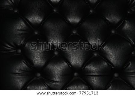 texture of black leather - stock photo