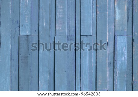Texture of Blue color paint plank wall for background