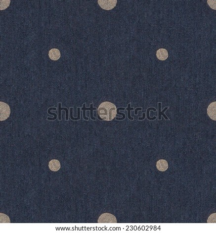 Texture of blue jeans background. Seamless Polka dot background dark blue pattern with circles / Polka Dots on Navy Blue Textured Fabric Background that is seamless and repeats.  - stock photo