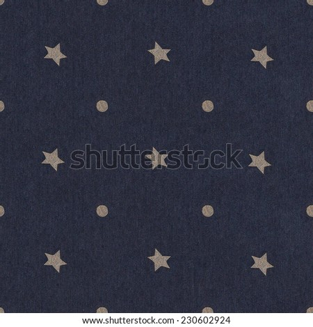 Texture of blue jeans background. Seamless stars polka dot background dark blue pattern with circles / Polka Dots star on Navy Blue Textured Fabric Background that is seamless and repeats.  - stock photo