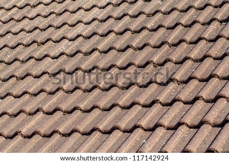 texture of brown clay tiles in house - stock photo