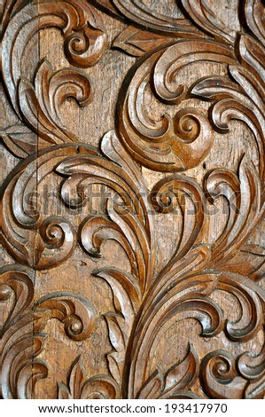 Texture of carved wood in the interior. - stock photo