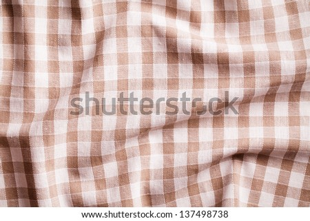 texture of checkered crumpled tablecloth - stock photo