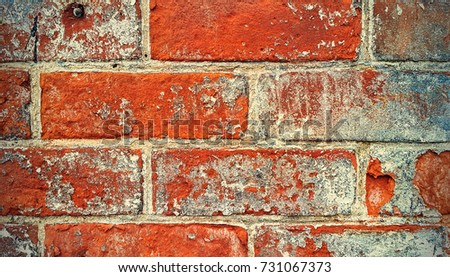 Texture of close-up old brick wall