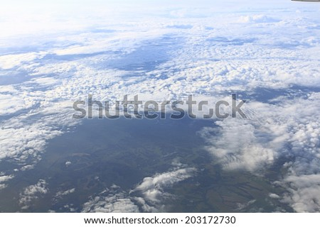 texture of clouds from an airplane view