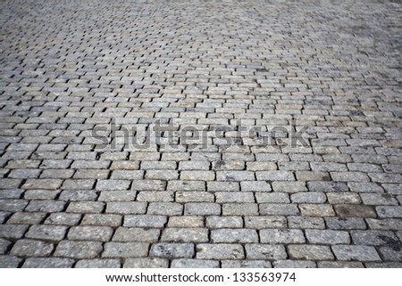 texture of cobblestone road, red square - stock photo