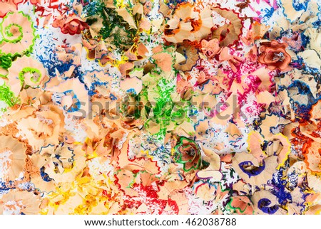 Texture of colorful pencil (crayon) shavings