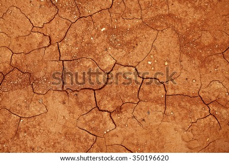 Texture of cracked red clay soil closeup