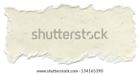 Texture of creamy white rice paper with torn edges. Isolated on white background. - stock photo