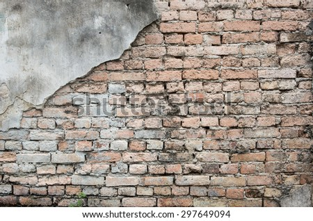 Texture of damaged old brick wall  - stock photo