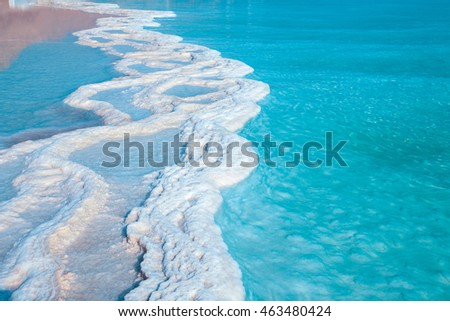 Texture of Dead Sea. Salty sea shore background