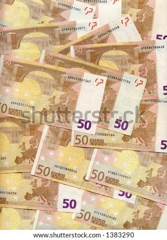Texture of 50 euro bills - stock photo