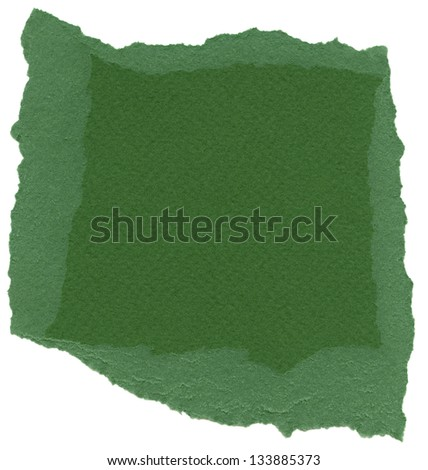 Texture of fern green fiber paper with torn edges. Isolated on white background.