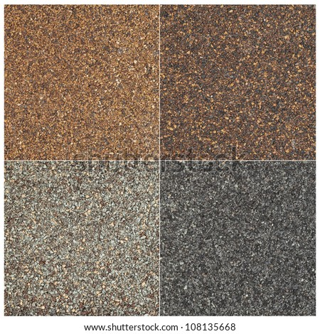 texture of four high impact asphalt roof shingles in different tones of brown and gray color - stock photo