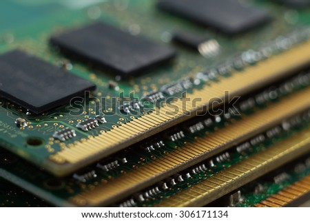 Texture of four Random Access Memory for servers. Macro - stock photo