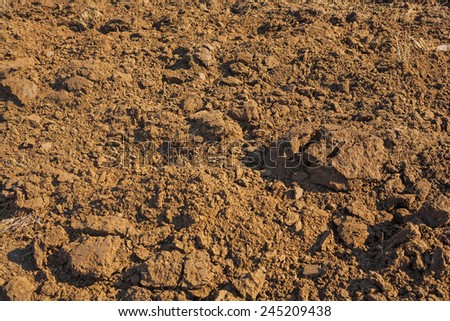 texture of fresh plouged ground in spring - stock photo