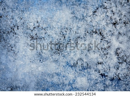 texture of frost patterns on the window glass - stock photo