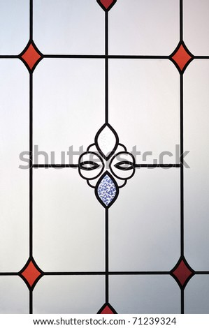Texture of frosted glass on door - stock photo