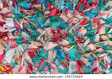 texture of handmade many-colored rag - stock photo