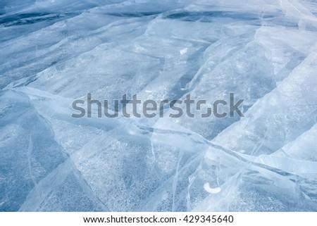 Texture of ice of Baikal lake in Siberia, Russia - stock photo