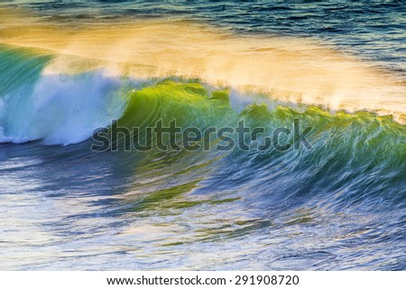 Texture of Ocean wave at sunset time.