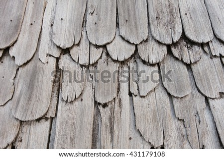 Texture of old shingle Roof, top view - stock photo