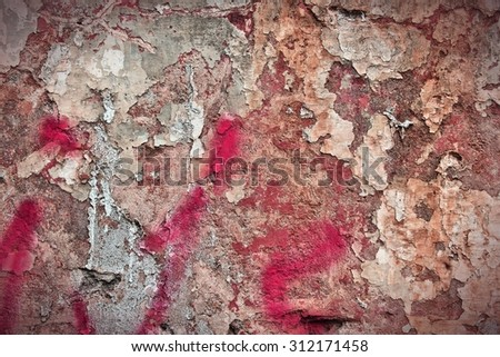 Texture of old urban wall. City decay background. - stock photo